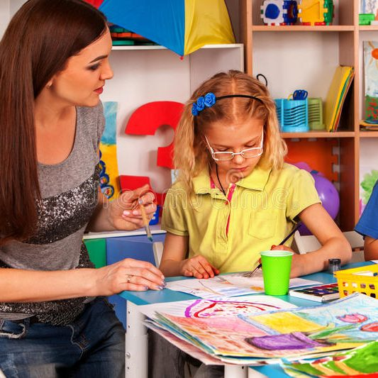 children-painting-drawing-together-craft-lesson-primary-school-kids-playroom-organization-kid-s-club-kindergarten-93777835